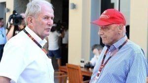 Dr. Helmut Marko (AUT) Red Bull Motorsport Consultant and Niki Lauda (AUT) Mercedes AMG F1 Non-Executive Chairman at Formula One World Championship, Rd19, Abu Dhabi Grand Prix, Race, Yas Marina Circuit, Abu Dhabi, UAE