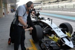 The prototype tyres had no colors / Force India / Pirelli tyre test, 1st December 2015, Abu Dhabi