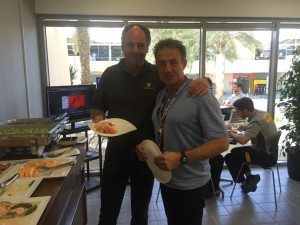 Team mates from 1993-1997 reunited: delighted to welcome Jean Alesi and Gerhard Berger to Pirelli hospitality. @pirellisport