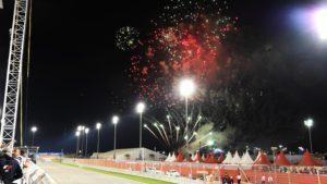 Fireworks at the end of the race at Formula One World Championship, Rd2, Bahrain Grand Prix Race, Bahrain International Circuit, Sakhir, Bahrain, Sunday 3 April 2016. © Sutton Motorsport Images