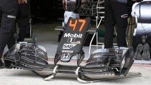 McLaren MP4-31 nose and front wing at Formula One World Championship, Rd2, Bahrain Grand Prix Practice, Bahrain International Circuit, Sakhir, Bahrain, Friday 1 April 2016. © Sutton Motorsport Images