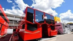 Ferrari motorhome at Formula One World Championship, Rd5, Spanish Grand Prix, Preparations, Barcelona, Spain, Wednesday 11 May 2016. © Sutton Images
