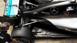 Mercedes AMG F1 rera floor, rear wing and rear suspension at Formula One Testing, Day One, Barcelona, Spain, 17 May 2016. © Sutton Images