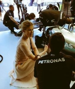 Rosamund Pike (GBR) at Formula One World Championship, Rd6, Monaco Grand Prix, Monte Carlo, Saturday 28 May 2016. © Mercedes AMG Petronas F1 Team