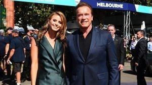 Arnold Schwarzenegger (AUT) and Grand Prix Ambassador Brittany Davis (AUS) at Formula One World Championship, Rd1, Australian Grand Prix, Race, Albert Park, Melbourne, Australia, Sunday 20 March 2016. © Sutton Motorsport Images