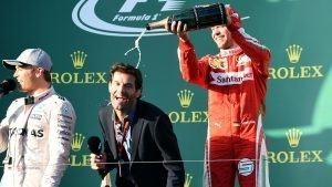 (L to R): Race winner Nico Rosberg (GER) Mercedes AMG F1, Mark Webber (AUS) and Sebastian Vettel (GER) Ferrari celebrate on the podium with champagne at Formula One World Championship, Rd1, Australian Grand Prix, Race, Albert Park, Melbourne, Australia, Sunday 20 March 2016. © Sutton Motorsport Images