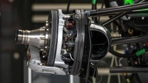 Haas VF-16 Brake and front wheel hub detail at Formula One World Championship, Rd7, Canadian Grand Prix, Preparations, Montreal, Canada, Thursday 9 June 2016. © Sutton Images