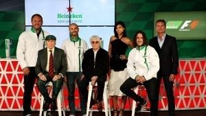 Heineken announces global partnership with Formula One Management. Pictured (back row, left to right): Scott Quinnell, Gianluca Di Tondo, Stephanie Sigman, David Coulthard, (front row left to right) Sir Jackie Stewart, Bernie Ecclestone and Carlos Puyol. © Heineken © 2016 Getty Images