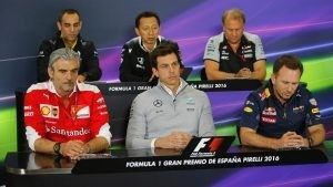 (L to R): Cyril Abiteboul (FRA) Renault Sport F1 Managing Director, Yusuke Hasegawa (JPN) Head of Honda Motorsport, Robert Fearnley (GBR) Force India F1 Team Deputy Team Principal, Maurizio Arrivabene (ITA) Ferrari Team Principal, Toto Wolff (AUT) Mercedes AMG F1 Director of Motorsport and Christian Horner (GBR) Red Bull Racing Team Principal in the Press Conference at Formula One World Championship, Rd5, Spanish Grand Prix, Practice, Barcelona, Spain, Friday 13 May 2016. © Sutton Images