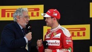 Placido Domingo (ESP) celebrates on the podium with Sebastian Vettel (GER) Ferrari at Formula One World Championship, Rd5, Spanish Grand Prix, Race, Barcelona, Spain, Sunday 15 May 2016. © Sutton Motorsport Images