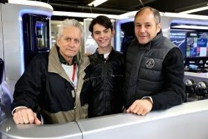 Michael Douglas, his son and Gerhard Berger at Formula One World Championship, Rd7, Canadian Grand Prix, Montreal, Canada, 2016.