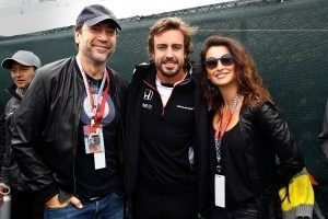 Javier Bardem, Fernando Alonso and Penelope Cruz at Formula One World Championship, Rd7, Canadian Grand Prix, Montreal, Canada, 2016.