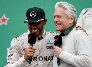 Lewis Hamilton and Michael Douglas at Formula One World Championship, Rd7, Canadian Grand Prix, Montreal, Canada, 2016.