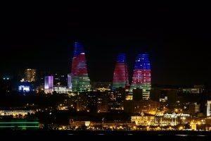 Night city light at Formula One World Championship, Rd8, European Grand Prix, after practice 2, Baku City Circuit, Baku, Azerbaijan, Friday 17 June 2016.