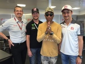 (L to R): Guenther Steiner (HAAS F1 Team Principal), Kurt Busch (NASCAR champion), Pharrell Williams, Esteban Gutiérrez(HAAS F1 Team Driver) at Formula One World Championship, Rd8, European Grand Prix, Baku City Circuit, Baku, Azerbaijan, 2016.