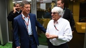 Dmitry Kozak (RUS) Deputy Prime Minister of the Russian Federation and Bernie Ecclestone (GBR) CEO Formula One Group (FOM) at Formula One World Championship, Rd15, Russian Grand Prix, Practice, Sochi Autodrom, Sochi, Krasnodar Krai, Russia, Friday 9 October 2015. © Sutton Motorsport Images
