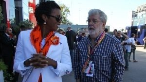 George Lucas (USA) with his partner Mellody Hobson (USA) at Formula One World Championship, Rd12, Italian Grand Prix, Race, Monza, Italy, Sunday 6 September 2015. © Sutton Motorsport Images
