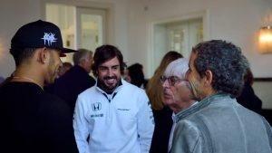 (L to R) Lewis Hamilton, Fernando Alonso, Bernie Ecclestone, Alain Prost © Mario Renzi