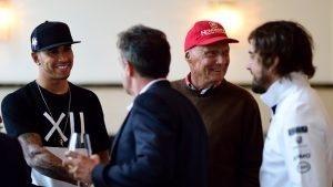 (L to R) Lewis Hamilton, Jean Alesi, Niki Lauda, Fernando Alonso © Mario Renzi