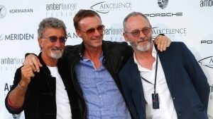 (L to R): Eddie Jordan (IRE), Eddie Irvine (IRL) and Liam Cunningham (IRL) Actor at Amber Lounge Fashion Show, Le Meridien Beach Plaza Hotel, Monaco, Friday 27 May 2016. © Sutton Images