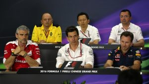 (L to R): Frederic Vasseur (FRA) Renault Sport F1 Team Racing Director, Yusuke Hasegawa (JPN) Head of Honda Motorsport, Eric Boullier (FRA) McLaren Racing Director, Maurizio Arrivabene (ITA) Ferrari Team Principal, Toto Wolff (AUT) Mercedes AMG F1 Director of Motorsport and Christian Horner (GBR) Red Bull Racing Team Principal in the Press Conference at Formula One World Championship, Rd3, Chinese Grand Prix, Practice, Shanghai, China, Friday 15 April 2016. © Sutton Motorsport Images