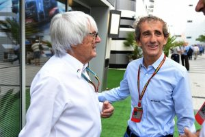 Bernie Ecclestone (GBR) CEO Formula One Group (FOM) and Alain Prost (FRA). Formula One World Championship, Rd16, Russian Grand Prix, Practice, Sochi Autodrom, Sochi, Krasnodar Krai, Russia, Friday, 10 October 2014 © Sutton Images.