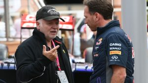 Christian Horner (GBR) Red Bull Racing Team Principal with Norbert Vettel (GER) Father of Sebastian Vettel (GER) Ferrari at Formula One World Championship, Rd6, Monaco Grand Prix Practice, Monte-Carlo, Monaco, Thursday 21 May 2015. © Sutton Motorsport Images