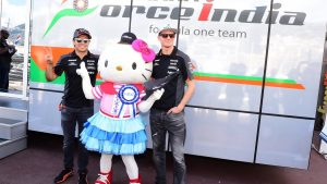 Hello kitty with the Sergio Perez (MEX) Force India and Nico Hulkenberg (GER) Force India F1 at Formula One World Championship, Rd6, Monaco Grand Prix Race, Monte-Carlo, Monaco, Sunday 24 May 2015. © Sutton Motorsport Images
