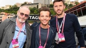 Liam Cunningham (IRL) Actor, Louis Tomlinson (GBR) Singer and Michael Carrick (GBR) Footballer at Formula One World Championship, Rd6, Monaco Grand Prix, Race, Monte-Carlo, Monaco, Sunday 29 May 2016. © Sutton Images