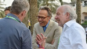 Rory Bremner (GBR) Impressionist, Lord March and David Richards (GBR) Prodrive at Formula One World Championship, Rd4, Bahrain Grand Prix Qualifying, Bahrain International Circuit, Sakhir, Bahrain, Saturday 18 April 2015. © Sutton Motorsport Images.