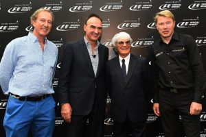 Nick Blazquez, President of Diageo in Africa and Asia with Bernie Ecclestone (GBR) CEO Formula One Group (FOM), Mika Hakkinen (FIN) and Robbie Walker (GBR). Formula One World Championship, Rd14, Singapore Grand Prix, Marina Bay Street Circuit, Singapore, Preparations, Thursday, 18 September 2014 © Sutton Images.