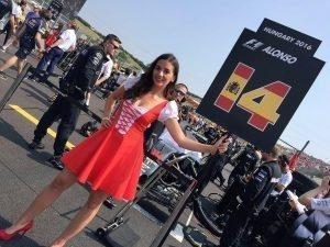 Grid girl at Formula One World Championship, Rd11, Hungarian Grand Prix, Race, Hungaroring, Hungary, Sunday 24 July 2016.