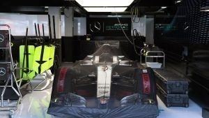 Mercedes-Benz F1 W07 Hybrid under covers in the garage at Formula One World Championship, Rd12, German Grand Prix, Race, Hockenheim, Germany, Sunday 31 July 2016. © Sutton Images