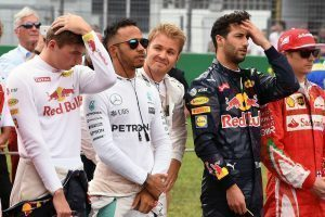 'Can I stand there please, Lewis?', National Anthem on the grid at Formula One World Championship, Rd12, German Grand Prix, Race, Hockenheim, Germany, Sunday 31 July 2016. © Sutton Images