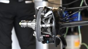 Mercedes-Benz F1 W07 Hybrid front brake and wheel hub detail at Formula One World Championship, Rd10, British Grand Prix, Preparations, Silverstone, England, Thursday 7 July 2016. © Sutton Images