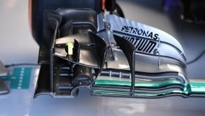 Mercedes-Benz F1 W07 Hybrid front wing detail at Formula One World Championship, Rd10, British Grand Prix, Practice, Silverstone, England, Friday 8 July 2016. © Sutton Images