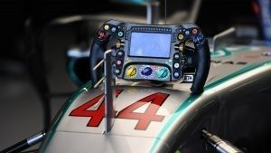 Mercedes-Benz F1 W07 Hybrid steering wheel at Formula One World Championship, Rd10, British Grand Prix, Practice, Silverstone, England, Friday 8 July 2016. © Sutton Images