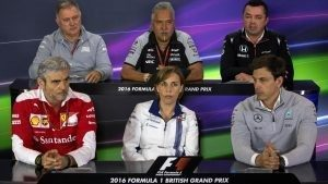 (L to R): Dave Ryan (GBR) Manor Racing Racing Director, Dr. Vijay Mallya (IND) Force India Formula One Team Owner, Eric Boullier (FRA) McLaren Racing Director, Maurizio Arrivabene (ITA) Ferrari Team Principal, Claire Williams (GBR) Williams Deputy Team Principal and Toto Wolff (AUT) Mercedes AMG F1 Director of Motorsport in the Press Conference at Formula One World Championship, Rd10, British Grand Prix, Practice, Silverstone, England, Friday 8 July 2016. © Sutton Images