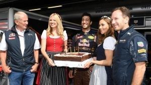 Daniel Ricciardo (AUS) Red Bull Racing celebrates his Birthday with Christian Horner (GBR) Red Bull Racing Team Principal and Dr Helmut Marko (AUT) Red Bull Motorsport Consultant at Formula One World Championship, Rd9, Austrian Grand Prix, Practice, Spielberg, Austria, Friday 1 July 2016. © Sutton Images