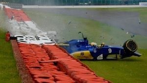Marcus Ericsson (SWE) Sauber C35 crashes in FP3 at Formula One World Championship, Rd10, British Grand Prix, Qualifying, Silverstone, England, Saturday 9 July 2016. © Sutton Images