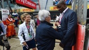 Bernie Ecclestone (GBR) CEO Formula One Group (FOM) and Frank Bruno (GBR) at Formula One World Championship, Rd10, British Grand Prix, Race, Silverstone, England, Sunday 10 July 2016. © Sutton Images