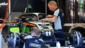 Force India VJM09 in the garage at Formula One World Championship, Rd13, Belgian Grand Prix, Preparations, Spa Francorchamps, Belgium, Thursday 25 August 2016. © Sutton Images