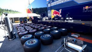 Red Bull Racing Pirelli tyres at Formula One World Championship, Rd13, Belgian Grand Prix, Preparations, Spa Francorchamps, Belgium, Thursday 25 August 2016. © Sutton Images