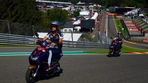 Carlos Sainz (ESP) Scuderia Toro Rosso rides the circuit on a scooter at Formula One World Championship, Rd13, Belgian Grand Prix, Preparations, Spa Francorchamps, Belgium, Thursday 25 August 2016. © Sutton Images