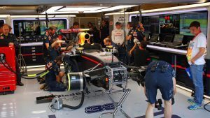 Max Verstappen (NED) Red Bull Racing RB12 in the garage in FP3 at Formula One World Championship, Rd13, Belgian Grand Prix, Qualifying, Spa Francorchamps, Belgium, Saturday 27 August 2016. © Sutton Images