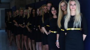 Grid girls at Formula One World Championship, Rd13, Belgian Grand Prix, Qualifying, Spa Francorchamps, Belgium, Saturday 27 August 2016. © Sutton Images