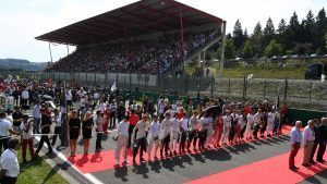 Driver observe the National Anthem on the grid at Formula One World Championship, Rd13, Belgian Grand Prix, Race, Spa Francorchamps, Belgium, Sunday 28 August 2016. © Sutton Images