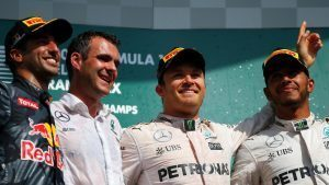 (L to R): Daniel Ricciardo (AUS) Red Bull Racing, Hywel Thomas (GBR) Mercedes AMG F1, Nico Rosberg (GER) Mercedes AMG F1 and Lewis Hamilton (GBR) Mercedes AMG F1 celebrate on the podium at Formula One World Championship, Rd13, Belgian Grand Prix, Race, Spa Francorchamps, Belgium, Sunday 28 August 2016. © Sutton Images