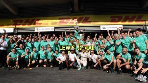 Race winner Nico Rosberg (GER) Mercedes AMG F1 celebrates with Lewis Hamilton (GBR) Mercedes AMG F1 and the team at Formula One World Championship, Rd13, Belgian Grand Prix, Race, Spa Francorchamps, Belgium, Sunday 28 August 2016. © Sutton Images