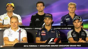 (L to R): Felipe Nasr (BRA) Sauber, Jolyon Palmer (GBR) Renault Sport F1 Team, Marcus Ericsson (SWE) Sauber, Valtteri Bottas (FIN) Williams, Daniel Ricciardo (AUS) Red Bull Racing and Sergio Perez (MEX) Force India in the Press Conference at Formula One World Championship, Rd15, Singapore Grand Prix, Preparations, Marina Bay Street Circuit, Singapore, Thursday 15 September 2016. © Sutton Images